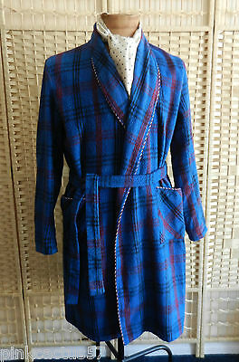 VINTAGE DRESSING GOWN 50s blue & maroon thick tartan & tie belt McGregor 42""