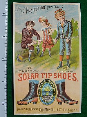 1870s-80s John Mundell & Co Solar Tip Shoes Kids Victorian Trade Card F26