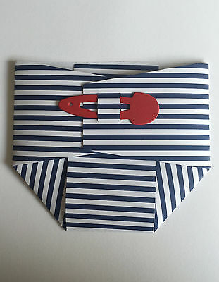 50 White/Navy CARD Sleeve & Envelope Nautical Baby Nappy Diaper Card