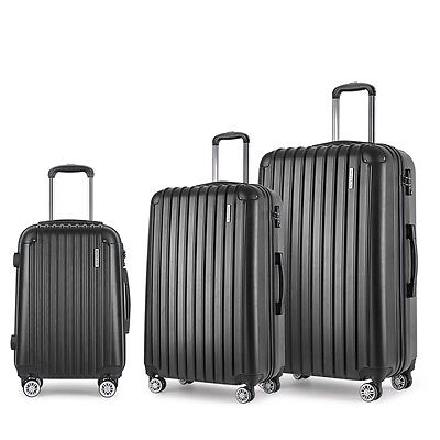 Set of 3 Hard Shell Travel Luggage with TSA Lock - Black Bags