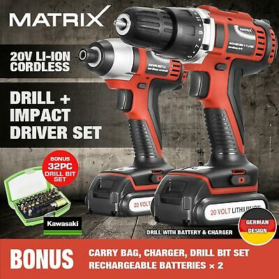 MATRIX 20V Li-Ion Cordless Drill + Impact Driver Batteries Charger with BONUS