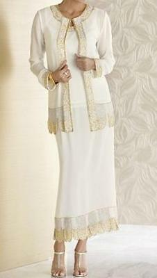 Mother of Bride Groom Women's Wedding beaded 3PC skirt suit party dress size XL
