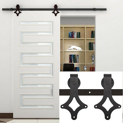 Double Steel sliding barn door hardware rustic black barn sliding Track 12FT USA