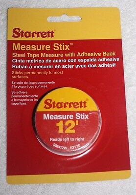"STARRETT SM412W 1/2"" x 12 Measure Stix Tape W/ Adhesive Backing Left to Right"