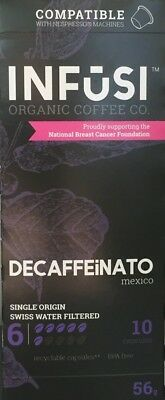 NEW Infusi Decaf Coffee Capsules ~ Nespresso Compatible (Organic) ~ 10 pack