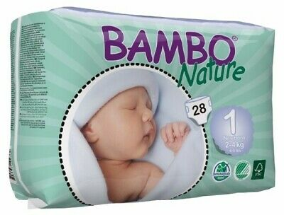 NEW Bambo Nature Newborn  ~ 2 - 4kg Nappies (Size 1)