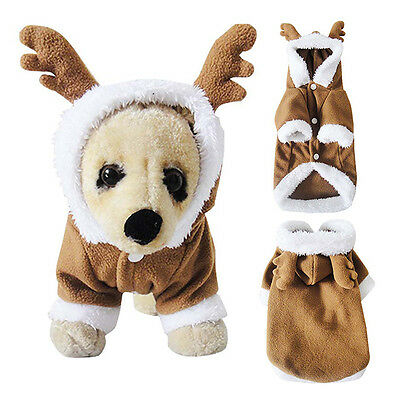 Pet Puppy Dog Christmas Clothes Reindeer Costume Coat Apparel Hoodie Xmas Gift