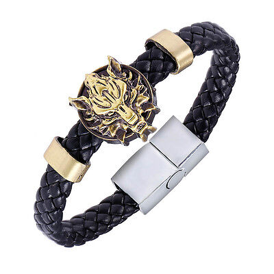 Chic Final Fantasy VII Cloudy Wolf Head Leather Bracelet Punk Wristband New