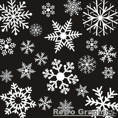 26 Large White Reusable Christmas Snowflake Window Stickers Clings Decorations