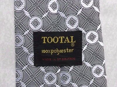 TOOTAL VINTAGE WIDE TIE 1960s 1970s MOD MODERNIST CASUAL GREY SILVER PATTERNED