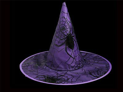 Purple Spiderweb Witches Hat Halloween Adult Fancy Dress Party Prop