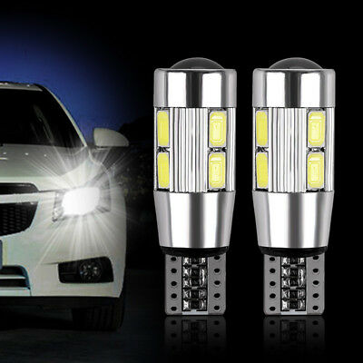 2pcs Bombilla Canbus T10 W5W 5630 10-LED SMD Blanco Coche Side Wedge Light Lamp