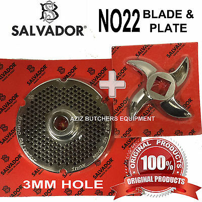 Salvador No22, 3mm Mincer Grinding Plate and Mincer blade Knife. 100% Genuine.