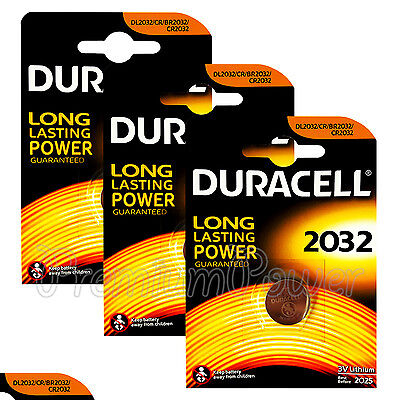 3 x Duracell Lithium Coin Cell battery CR2032 CR BR2032 DL2032 3V EXP:2025