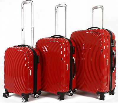 Set of 3 Hard Shell 4 Wheeled Spinner Suitcases Hand Luggage Baggage Red