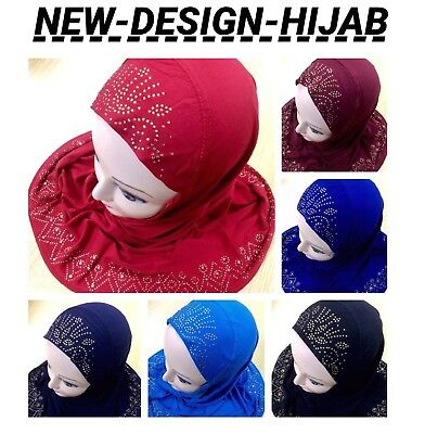 Muslim Girls Kids Readymade Hijab Headscarf Girls Hijab New Design Uk Seller P&p