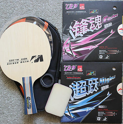 Custom-made Table Tennis Bat: DHS Blade + 729 Faster/Higher Rubbers, Melbourne