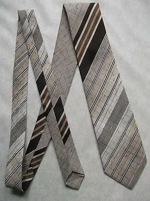 TOOTAL TIE VINTAGE RETRO 1970s 1980s CASUAL MODERNIST BROWN STRIPED STRIPES