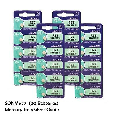 Sony SR626SW (377) 1.55V Silver Oxide Watch Battery 0%Hg (20 Coin Cells)