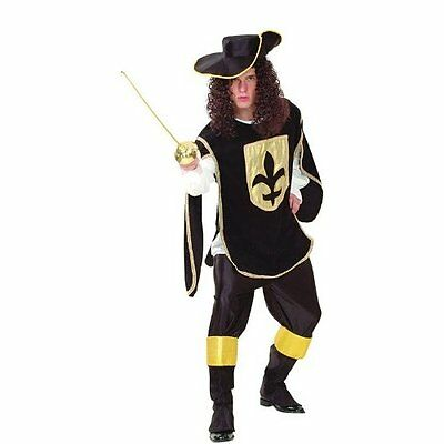Musketeer Man Costume, Knight, Black, Fancy Dress #us