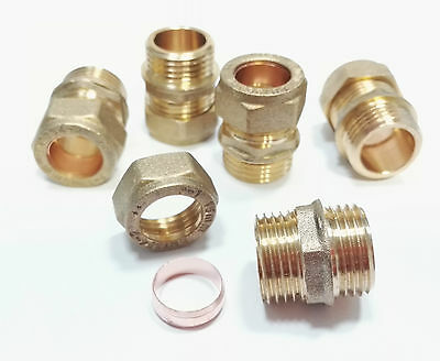 "Compression 15mm to 1/2""BSP Brass Male Iron (MI) Thread Connector Free P&P"