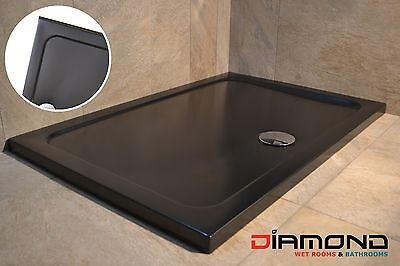 1400x900 BLACK MATT Rectangular Stone Slimline Shower Tray 40mm inc Waste