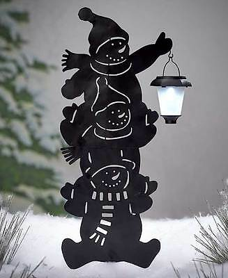 Stacked Snowman Solar Power Lighted Silhouette Garden Yard Lawn Christmas New