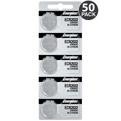 Energizer CR2032 3V Lithium Coin Batteries ECR2032 (50 Coin Cells) + Tracking