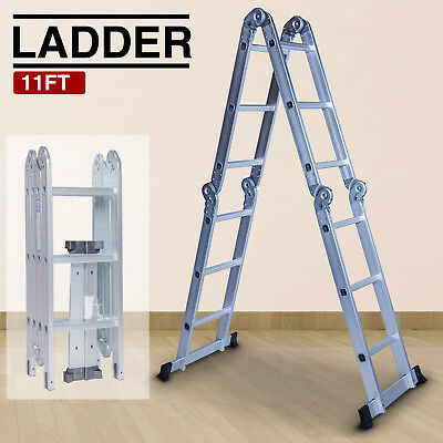 Aluminum 11FT Multi Purpose Step Ladder Scaffold Heavy Duty Folding Extendable