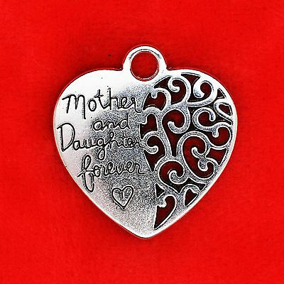 2 x Tibetan Silver Mother and Daughter Forever Love Heart Charm Pendant Making