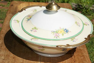 Vintage...estate....flowered....casserole W/ Lid & Serving Plate....japan