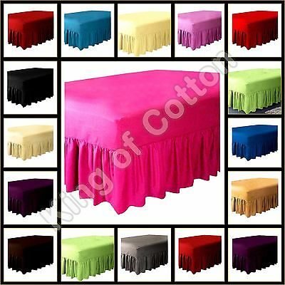 Plain Dyed Fitted Valance Sheet T-180 Poly Cotton Single Double King &Super King