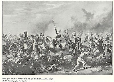 Antique Print, Battle Of Chillienwallah, 3Rd Dragoons, Sikh War 1849