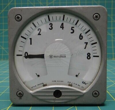 Westinghouse Type KX-241 Style 1964630 0-8 Meter E.S. = 2.14 MA. DC