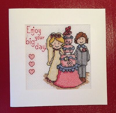 Completed Cross Stitch Wedding Card Enjoy Your Big Day 5.5x5.5 Inch