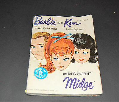 VINTAGE Barbie Ken Midge Booklet Fashions 1962 White  Mattel Doll