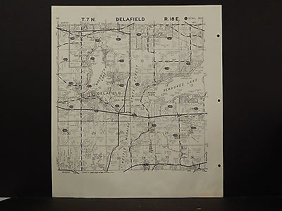 Wisconsin Waukesha County Map 1967 Delafield or Merton Townships R2#90