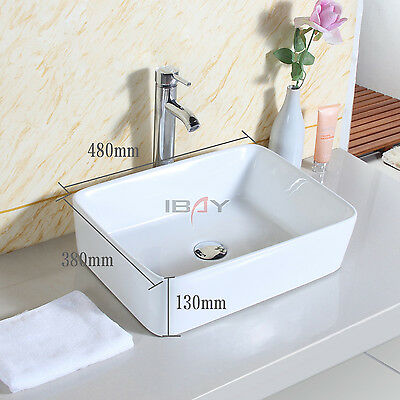 Basin Sink Countertop Square Bathroom Ceramic Wash Bowl Modern Washing Sink UK