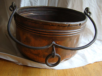 Antique Hammered Copper Iron brass Hanging Cooking Pot Cauldron Dovetail 341602