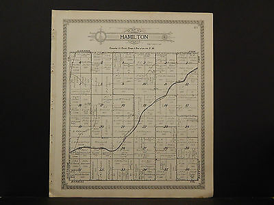 Illinois Lee County Map 1921 Township of Dixon or Hamilton Double Sided N2#92