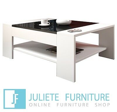 New White Coffee Table___Living Room__White / Black High Gloss__Free Shipping