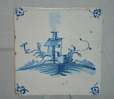 """Delft Tile Dutch """"Country Home"""" with perimeter Floral Pattern"""