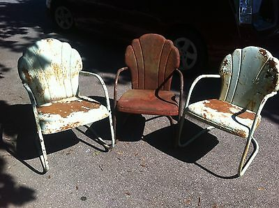 Vintage Metal Gas Station Shell Oil Shell Back Chair.
