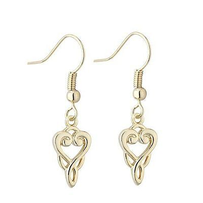 New Solvar Book of Kells Gold Plated Celtic Trinity Knot Drop Earrings