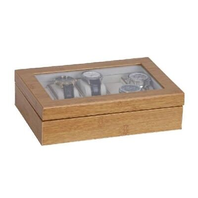 New Logan Glass Top Watch Box in Bamboo