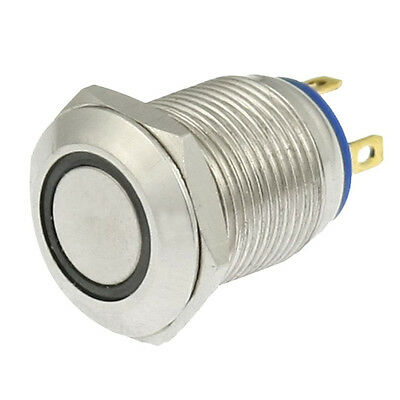 Blue LED Light Stainless Steel Momentary Push Button Switch N3
