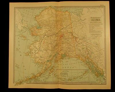 Alaska showing locations of Gold fields 1911 detailed vintage old color map