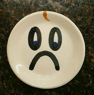 M a hadley pottery plate frowny face
