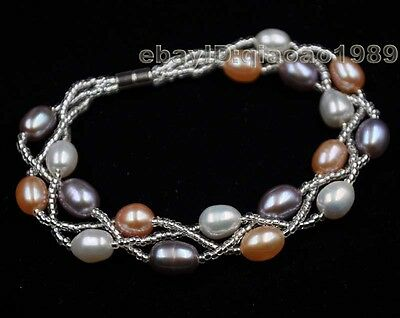 multicolor Real freshwater pearl bracelet magnetic clasp 6.5-7*8-9mm