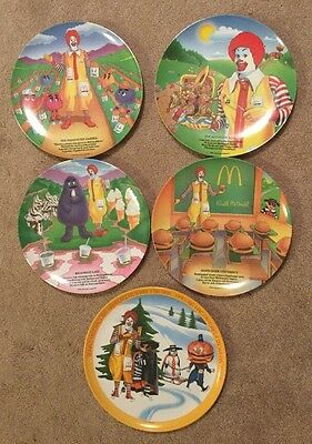 VTG MCDONALDS Food COLLECTOR PLATES Set Seasons Melamine Plastic Excellent Con